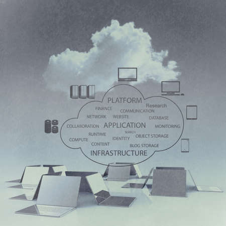 clouds: Cloud computing 3d structure as vintage concept