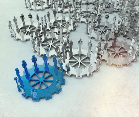 Model of 3d figures on connected cogs as leadership concept with vintage style photo