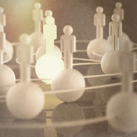 3d growing light human social network and leadership asvintage style concept photo
