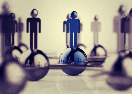 comunicar: 3d red social humana acero como concepto de estilo vintage