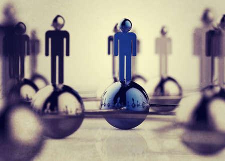 Rede social humana inoxidável 3d como o conceito do estilo do vintage