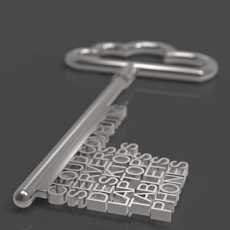 Cloud computing diagram with metallic cloud and the key as concept photo