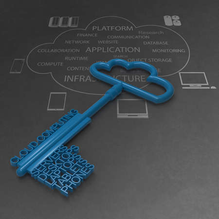 Cloud Computing-Diagramm mit metallischen Wolke und den Schlüssel als Konzept
