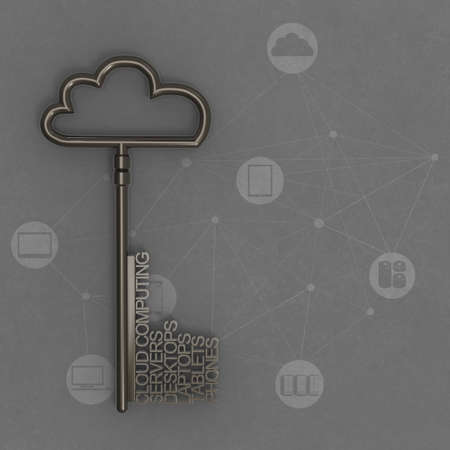 Cloud computing diagram with metallic cloud and the key as vintage style concept photo