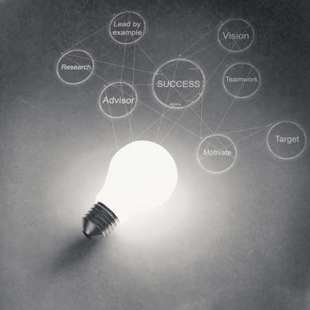 business strategy: light bulb 3d on business strategy background as vintage style concept Stock Photo