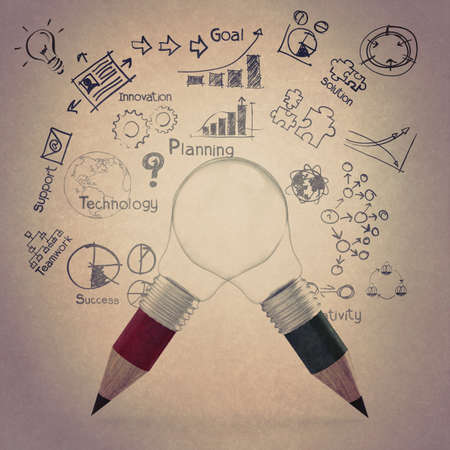 creative design business as pencil lightbulb 3d as business design vintage style concept photo
