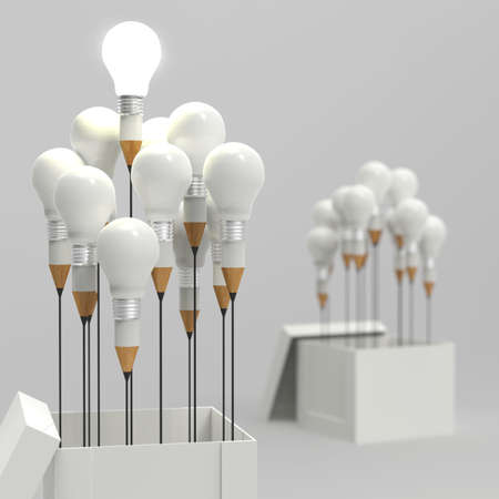 pencil box: drawing idea pencil and light bulb concept outside the box as creative and leadership as vintage style