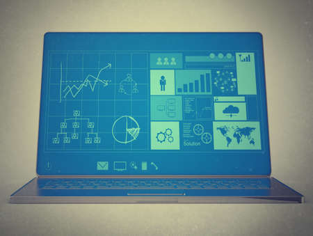 ultrabook: laptop notebook ultrabook with new inteface as vintage style concept Stock Photo