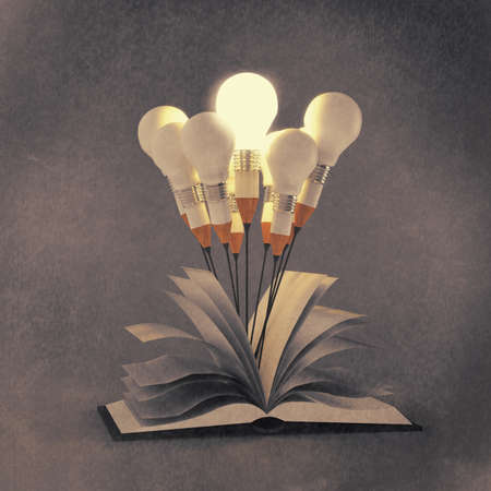 drawing idea pencil and light bulb concept outside the book as creative and leadership concept