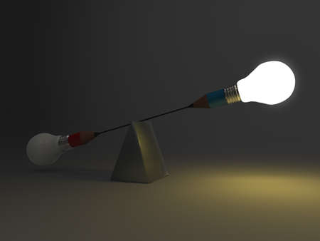 false balance of pencil lightbulb as concept photo