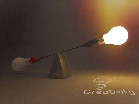 false balance of pencil lightbulb as concept Stock Photo