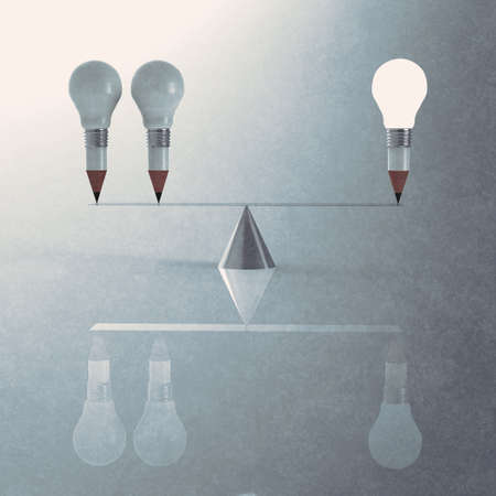 false balance of pencil lightbulb as vintage style concept photo