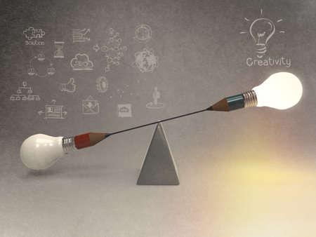 creativity: false balance of pencil lightbulb as vintage style concept