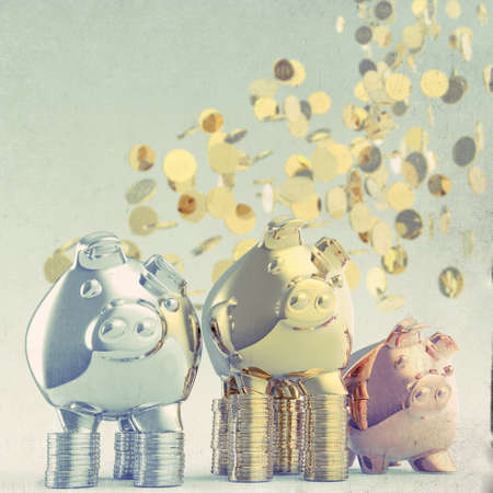 piggy bank as concept as vintage style concept photo