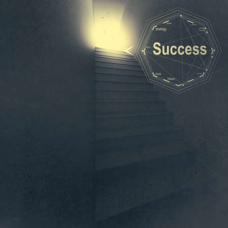 3d stairway to success as business vintag style concept photo