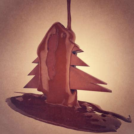 cioccolato natale: flusso di cacao al cioccolato un albero di Natale su sfondo bianco Archivio Fotografico