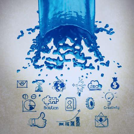 vintagel: 3D paint blue color splash and business strategy background as vintage style concept