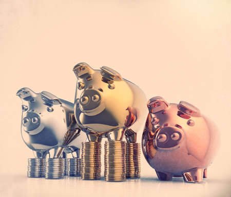 piggy bank as vintage style concept  photo