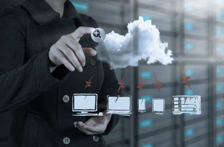businesswoman hand touch a cloud network concept photo