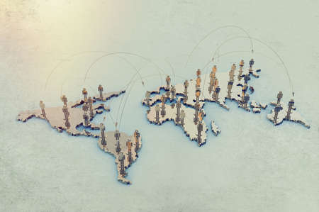 social network human 3d on world map as vintage style concept photo