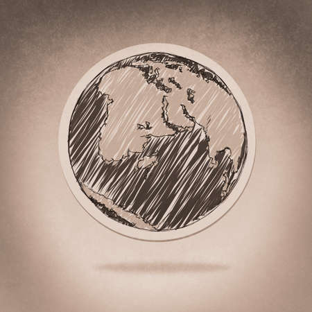 hand drawn the earth as vintage style concept photo