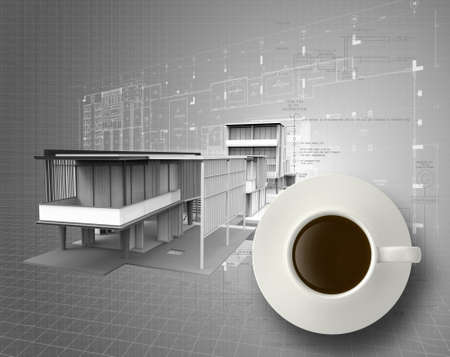 3d coffee cup on engineer blue print as concept