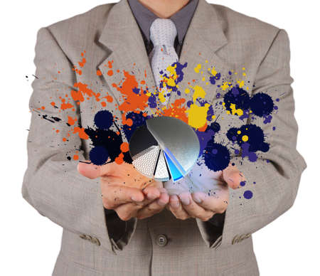 businessman hand with the art of business concept photo