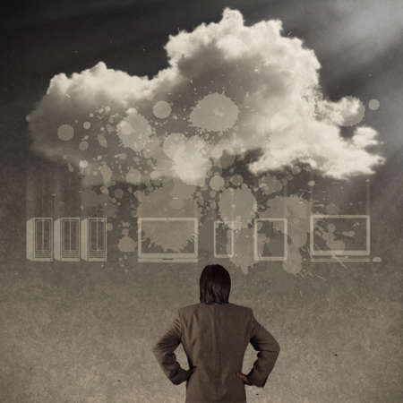 businessman thinking about cloud network idea concept as vintage style photo