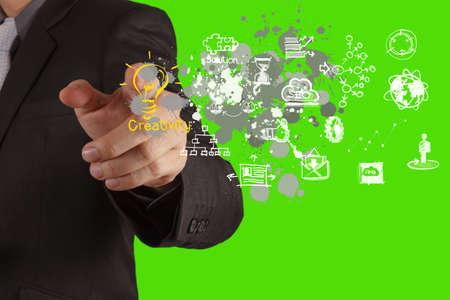 Geschäftsmann Hand zieht Glühbirne mit neuen Computer-Schnittstelle als Lösung Business-Konzept