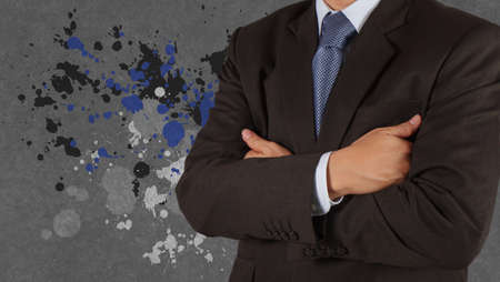 businessman success with splash colors background as concept photo