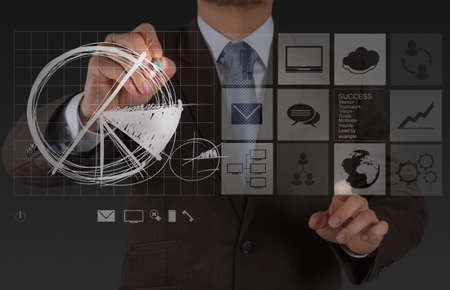 financial management: businessman hand working with new modern computer and business strategy as concept Stock Photo