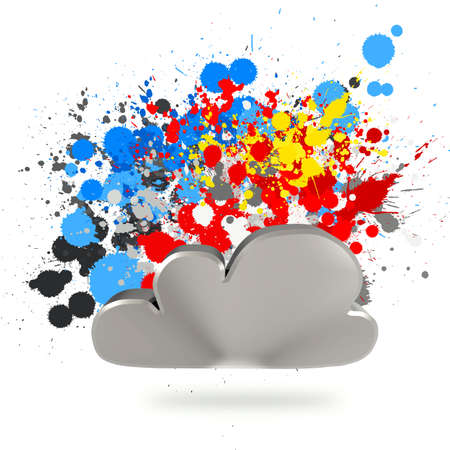 remote access: Cloud computing sign on splashing colors background as concept