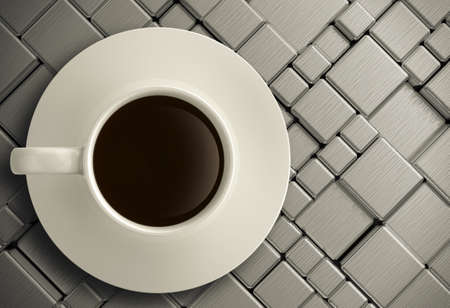 3d cup of coffee on stainless steel background Stock Photo - 22006596