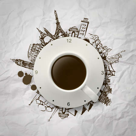 3d cup of coffee and clock traveling around the world as concept photo