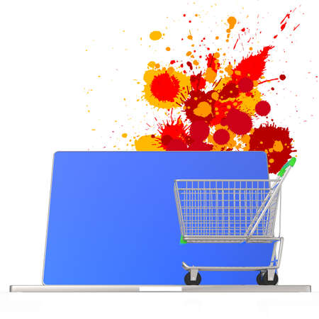 online shopping 3d on splash colors background as concept photo