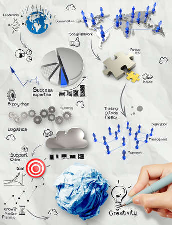 hand drawing creative business strategy on crumpled paper background as concept photo