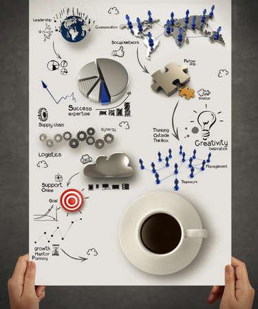 概念としてのビジネス戦略ダイアグラム上の 3 d のコーヒー カップを持っている手します。