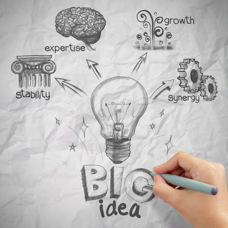 the big idea: woman hand draw the big idea diagram on crumpled paper background as concept Stock Photo