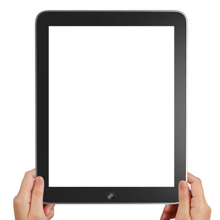 female hands holding a tablet touch computer gadget on white background photo