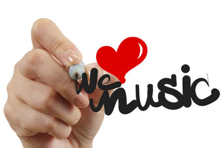 hand tekenen we houden van muziek als concept Stockfoto