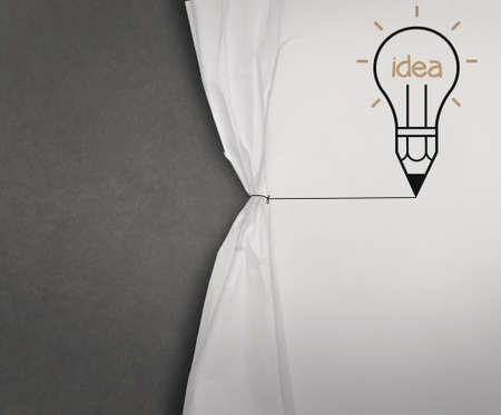 pencil lightbulb draw rope open wrinkled paper show blank black board as concept Stock Photo - 22007851