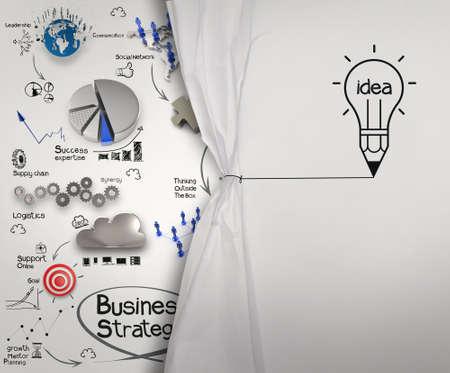 概念としてロープ オープンしわ紙ショー ビジネス戦略を描く鉛筆電球