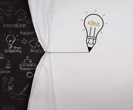 wrinkled paper: pencil lightbulb draw rope open wrinkled paper show blank black board as concept