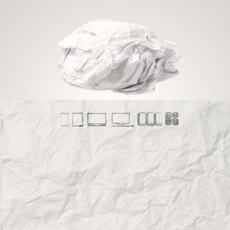 crumpled paper Cloud Computing diagram  as concept photo