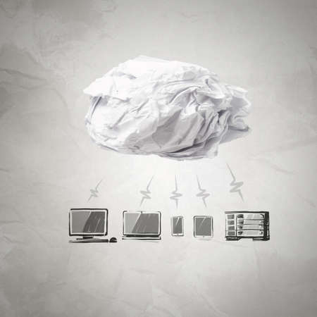 crumpled paper Cloud Computing diagram as concept photo