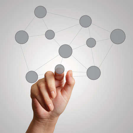 hand draws  social network structure as concept photo