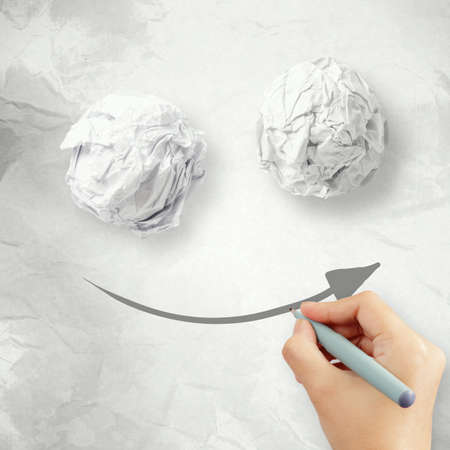 crumpled paper texture: Hand draw smile face arrow and crumpled paper texture as concept