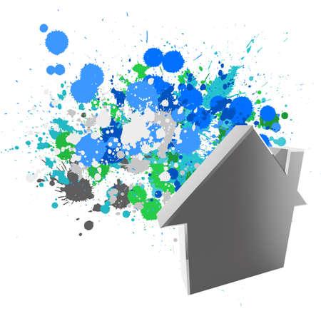 laconic: 3d house sign on splash colors background