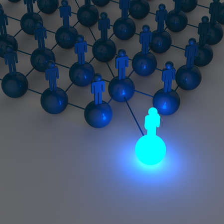 net meeting: 3d blue human social network and leadership as concept