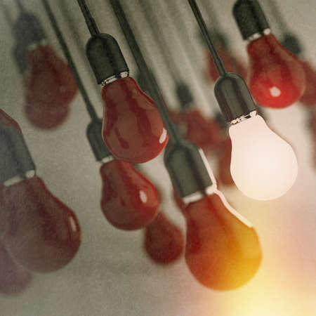 creative idea and leadership concept light bulb as vintage style concept Stock Photo - 22006825